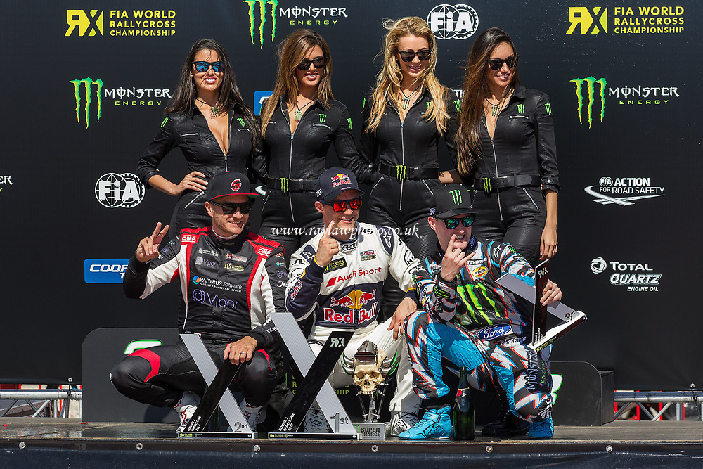 Mattias Ekstrom, Team EKS (C), Timo Scheider, MJP Racing Team Austria (L), Andreas Bakkerud, Hoonigan Racing Division plus monster girls on the winners podium during WRX 2017 Round One Race Day at Circuit de Barcelona-Catalunya on 2nd April 2017