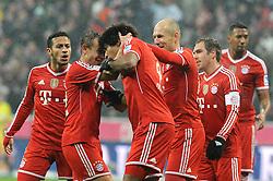 02.02.2014, Allianz Arena, Muenchen, GER, 1. FBL, FC Bayern Muenchen vs Eintracht Frankfurt, 19. Runde, im Bild Freude nach dem 4:0 vl : Thiago Alcantara (FC Bayern Muenchen), Rafinha (FC Bayern Muenchen), Dante (FC Bayern Muenchen), Arjen Robben (FC Bayern Muenchen), Philipp Lahm (FC Bayern Muenchen), Jerome Boateng (FC Bayern Muenchen) // during the German Bundesliga 19th round match between FC Bayern Munich and Eintracht Frankfurt at the Allianz Arena in Muenchen, Germany on 2014/02/03. EXPA Pictures © 2014, PhotoCredit: EXPA/ Eibner-Pressefoto/ Stuetzle<br /> <br /> *****ATTENTION - OUT of GER*****