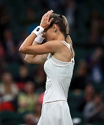 Magdalena Rybarikova following victory over Coco Vandeweghe on day eight of the Wimbledon Championships at The All England Lawn Tennis and Croquet Club, Wimbledon.