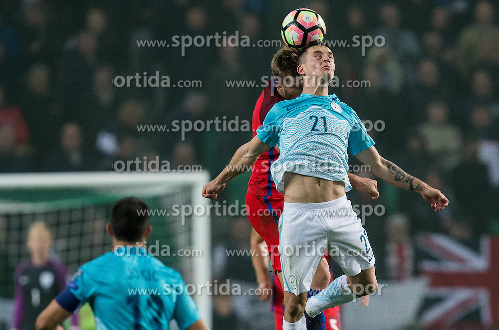 Eric Dier of England vs Benjamin Verbic of Slovenia during football match between National teams of Slovenia and England in Round #3 of FIFA World Cup Russia 2018 Qualifier Group F, on October 11, 2016 in SRC Stozice, Ljubljana, Slovenia. Photo by Vid Ponikvar / Sportida