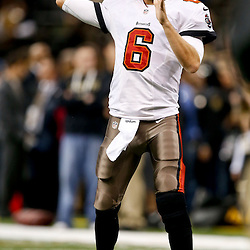 Dec 29, 2013; New Orleans, LA, USA; Tampa Bay Buccaneers quarterback Dan Orlovsky (6) against the New Orleans Saints prior to kickoff of a game at the Mercedes-Benz Superdome. Mandatory Credit: Derick E. Hingle-USA TODAY Sports