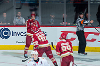REGINA, SK - MAY 20: Antoine Morand #88, German Rubtsov #98 and Jeffrey Truchon-Viel #25 of Acadie-Bathurst Titan celebrate a second period goal against the Regina Pats at the Brandt Centre on May 20, 2018 in Regina, Canada. (Photo by Marissa Baecker/CHL Images)