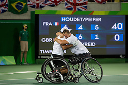 Stephane Houdet (L) and Nicolas Peifer of France celebrate after winning against Alfie Hewett (out of frame) and Gordon Reid (out of frame) of the UK in the Tennis Men's Doubles Gold Medal Match during Day 8 of the Rio 2016 Summer Paralympics Games on September 15, 2016 in Olympic Tennis Centre, Rio de Janeiro, Brazil. Photo by Vid Ponikvar / Sportida