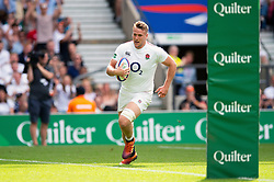 Alex Dombrandt of the England XV runs in a try - Mandatory byline: Patrick Khachfe/JMP - 07966 386802 - 02/06/2019 - RUGBY UNION - Twickenham Stadium - London, England - England XV v Barbarians - Quilter Cup International
