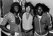 Sly Dunbar with Keith Richards and Robbie Shakespear during the Don't Look Back video shoot - Kingston jamaica - 1978
