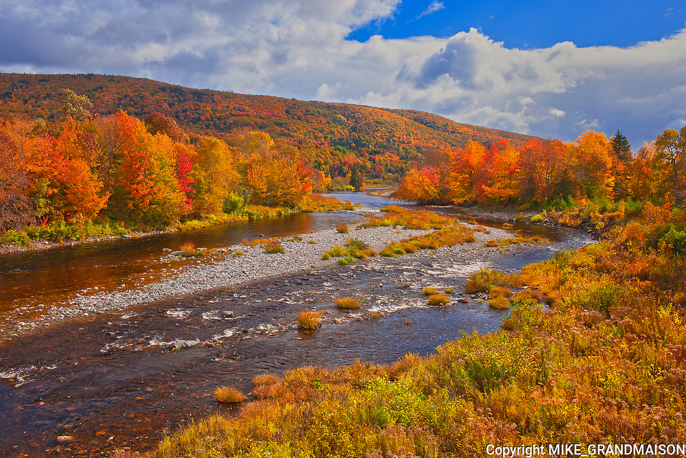 The North River and the Acadian forest in autumn foliage <br />North River<br />Nova Scotia<br />Canada