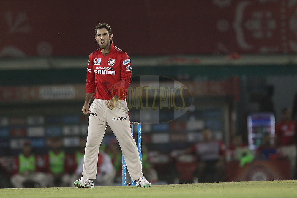 Glenn Maxwell of Kings XI Punjab during match 13 of the Vivo Indian Premier League ( IPL ) 2016 between the Kings XI Punjab and the Kolkata Knight Riders held at the IS Bindra Stadium, Mohali, India on the 19th April 2016<br /> <br /> Photo by Ron Gaunt / IPL/ SPORTZPICS