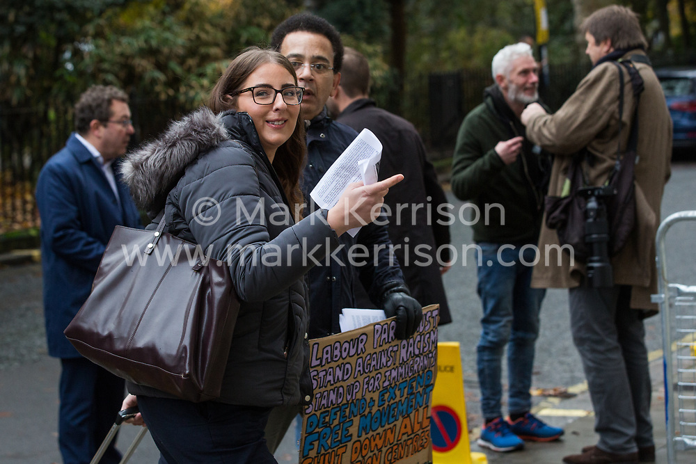 London, UK. 16 November, 2019. Laura Pidcock, Shadow Minister for Business, Energy and Industrial Strategy, has a discussion about freedom of movement as she arrives at Labour's Clause V meeting. The Clause V meeting, chaired by the party leader and attended by members of the National Executive Committee (NEC), relevant Shadow Cabinet members and members of the National Policy Forum, will finalise the party's general election manifesto. The meeting is named after Clause V of the Labour Party rulebook.