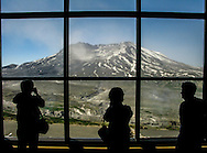 A steaming Mount St. Helens inside the Johnston Ridge Observatory in Toutle, Washington in June 2008.