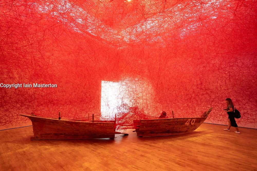 Art installation , Departure, by Chiharu Shiota at Jameel Arts Centre in Dubai, UAE, United Arab Emirates