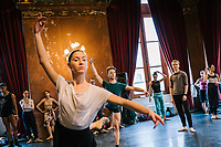 PALERMO, ITALY - 18 FEBRUARY 2018: The Corps de Ballet of the Teatro Massimo rehearses in the Sala degli Stemmi (Coat of Arms room) of the Teatro Massimo shortly before the dress rehearsal of the Don Quixote in Palermo, Italy, on February 18th 2018.<br /> <br /> The Teatro Massimo Vittorio Emanuele is an opera house and opera company located  in Palermo, Sicily. It was dedicated to King Victor Emanuel II. It is the biggest in Italy, and one of the largest of Europe (the third after the Opéra National de Paris and the K. K. Hof-Opernhaus in Vienna), renowned for its perfect acoustics. It was inaugurated in 1897.
