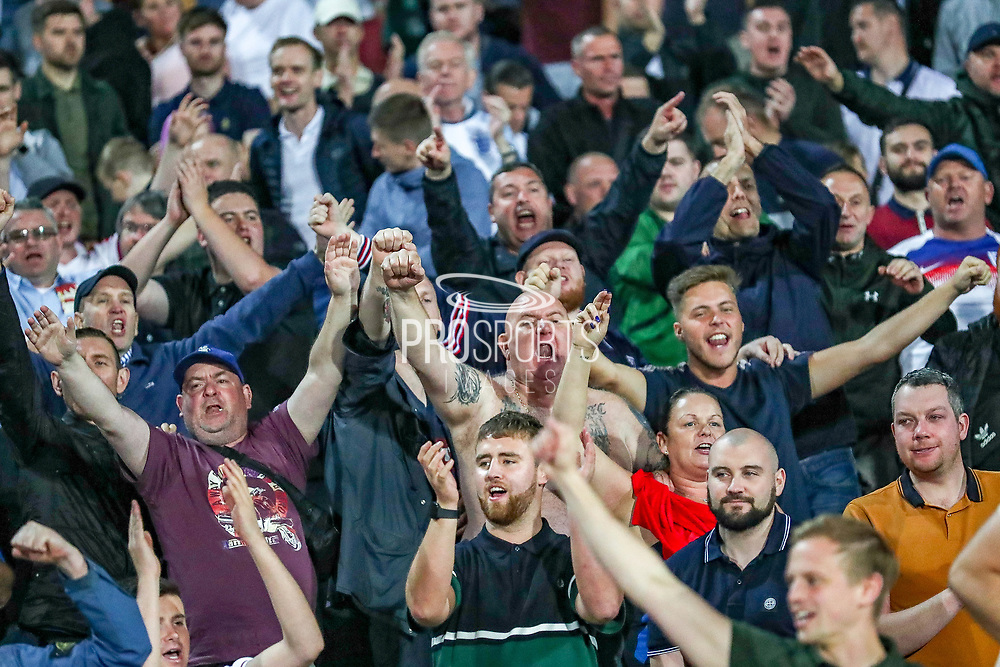 England fans celebrates at full time during the UEFA European 2020 Qualifier match between Bulgaria and England at Stadion Vasil Levski, Sofia, Bulgaria on 14 October 2019.