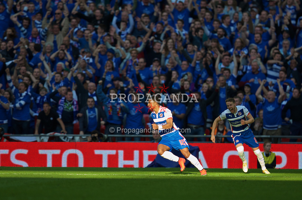 LONDON, ENGLAND - Saturday, April 18, 2015: Reading's Gareth McCleary celebrates scoring the first goal against Arsenal during the FA Cup Semi-Final match at Wembley Stadium. (Pic by David Rawcliffe/Propaganda)