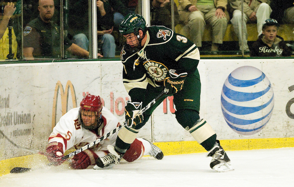 The men's hockey game between the Denver Pioneers and the Vermont Catamounts at Gutterson Field House on October 10, 2011 in Burlington, Vermont.