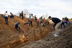 October 6, 2018 - Hambach Forest, Germany - More than 50.000 people demonstrated on Oktober 6, at the Hambach forest (North Rhine Westphalia, Germany) against the open coal mine by the German energy company RWE. They demanded to stop coal mining to protect the halbwacher forst from being cut down by RWE. Several thousand people headed into the forest and started to reoccupy the area that had been cleared from treehouses by the police over several weeks. Activists build new treehouses and wooden barricades. (Credit Image: © David Speier/NurPhoto/ZUMA Press)