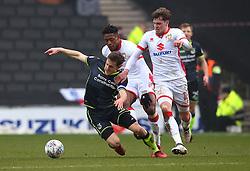 Tom Lockyer of Bristol Rovers takes on Robbie Muirhead and Chuks Aneke of Milton Keynes Dons - Mandatory by-line: Robbie Stephenson/JMP - 03/03/2018 - FOOTBALL - Stadium MK - Milton Keynes, England - Milton Keynes Dons v Bristol Rovers - Sky Bet League One