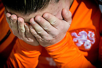 ROTTERDAM - Nederland - Zweden , Voetbal , Seizoen 2015/2016 , damesvoetbal , vrouwen , Olympisch kwalificatie toernooi , Sparta Stadion het Kasteel , 09-03-2016 , Teleurgestelde nederlandse speelster