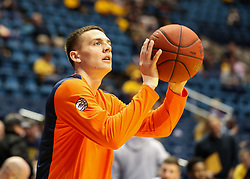 Dec 5, 2017; Morgantown, WV, USA; Virginia Cavaliers guard Kyle Guy (5) warms up before their game against the West Virginia Mountaineers at WVU Coliseum. Mandatory Credit: Ben Queen-USA TODAY Sports