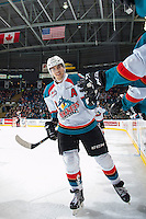 KELOWNA, CANADA - MARCH 1: Nick Merkley #10 of the Kelowna Rockets celebrates a goal with bench fist pumps against the Prince George Cougars on MARCH 1, 2017 at Prospera Place in Kelowna, British Columbia, Canada.  (Photo by Marissa Baecker/Shoot the Breeze)  *** Local Caption ***