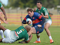 GEORGE, SOUTH AFRICA - SEPTEMBER 24: Anvor Prins of RSK Evergreens tackles Dudley Stead of Pirates during the Gold Cup 2016 match between RSK Evergreens and Pirates at Pacaltsdorp Sports Ground on September 24, 2016 in George, South Africa. (Photo by Roger Sedres/Gallo Images)