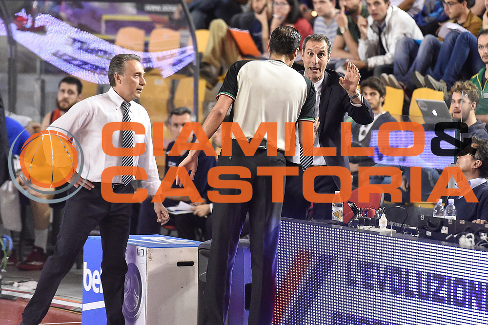 DESCRIZIONE : Campionato 2014/15 Virtus Acea Roma - Enel Brindisi<br /> GIOCATORE : Piero Bucchi Denis Quarta<br /> CATEGORIA : Fair Play<br /> SQUADRA : Enel Brindisi<br /> EVENTO : LegaBasket Serie A Beko 2014/2015<br /> GARA : Virtus Acea Roma - Enel Brindisi<br /> DATA : 19/04/2015<br /> SPORT : Pallacanestro <br /> AUTORE : Agenzia Ciamillo-Castoria/GiulioCiamillo