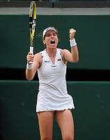 Tennis - 2019 Wimbledon Championships - Week Two, Monday (Day Seven)<br /> <br /> Women's Singles, Fourth Round: Johanna Konta (GBR) v Petra Kvitova (CZE)<br /> <br /> Johanna Konta celebrates winning match point, on Centre court .<br /> <br /> COLORSPORT/ANDREW COWIE