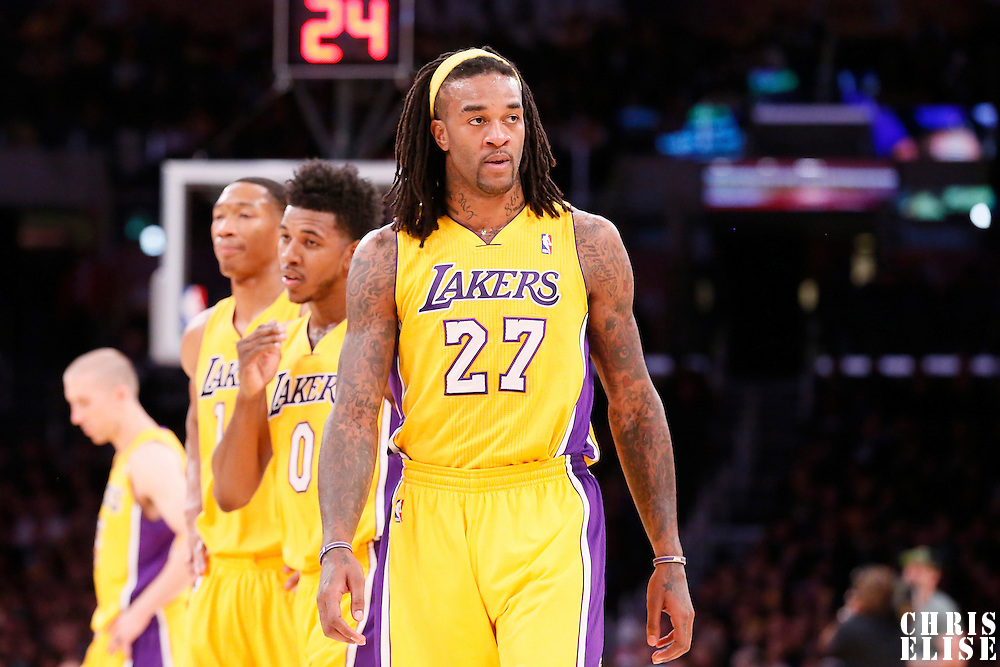 10 December 2013: Los Angeles Lakers center Jordan Hill (27) is seen during the Phoenix Suns 114-108 victory over the Los Angeles Lakers at the Staples Center, Los Angeles, California, USA.