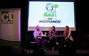 "Erik Lorenzsonn, Abigail Becker, and Lisa Speckhard-Pasque on stage during the live taping of the ""Madsplainers"" Podcast at High Noon Saloon in Madison, WI on Tuesday, April 9, 2019."
