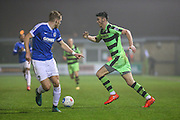 Forest Green Rovers Kieffer Moore(14) runs forward during the Vanarama National League match between Forest Green Rovers and Dover Athletic at the New Lawn, Forest Green, United Kingdom on 17 December 2016. Photo by Shane Healey.