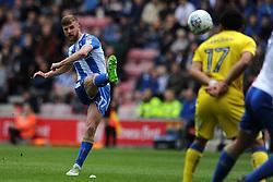 Ryan Colclough of Wigan Athletic takes a free-kick - Mandatory by-line: Greig Bertram/JMP - 28/04/2018 - FOOTBALL - DW Stadium - Wigan, England - Wigan Athletic v AFC Wimbledon -