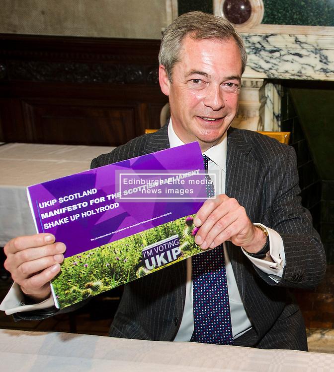 Pictured: <br /> UKIP leader Nigel Farage visited Edinburgh today to launch his party's Scottish Parliament election manifesto along side David Coburn. <br /> Ger Harley | EEm 7 April 2016