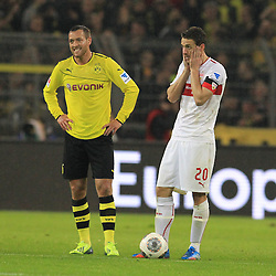01.11.2013, Signal Iduna Park, Dortmund, GER, 1. FBL, Borussia Dortmund vs VfB Stuttgart, 11. Runde, im Bild Kapitaen Christian Gentner #20 (VfB Stuttgart) entgeistert neben Julian Schieber #23 (Borussia Dortmund), Enttaeuschung, Pech, Trauer, negativ // during the German Bundesliga 11th round match between Borussia Dortmund and VfB Stuttgart at the Signal Iduna Park in Dortmund, Germany on 2013/11/02. EXPA Pictures © 2013, PhotoCredit: EXPA/ Eibner-Pressefoto/ Schueler<br /> <br /> *****ATTENTION - OUT of GER*****