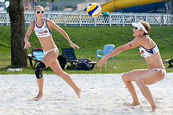 Martina Jakob and Andreja Vodeb (Gloryfy) at Beachmaster 2010 tournament for Slovenian BeachTour on July 15, 2010, in Ptuj, Slovenia. (Photo by Matic Klansek Velej / Sportida)