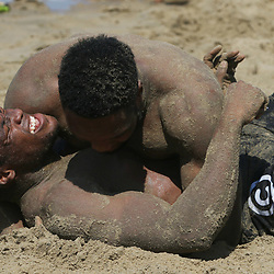 DURBAN, SOUTH AFRICA, December 11. 2015 -Sibusiso Sithole during The Cell C Sharks Pre Season Beach South Beach training for the 2016 Super Rugby Season . (Photo by Steve Haag)<br /> images for social media must have consent from Steve Haag