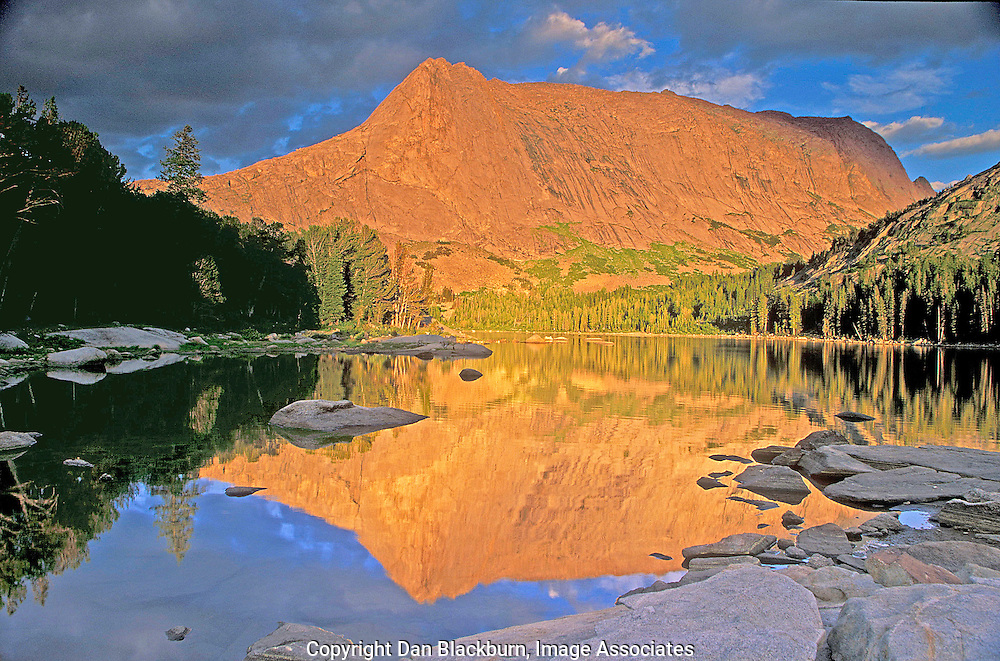 Haystack Mountain Reflected in Clear Lake at Sunset in the Wind River Range Wyoming