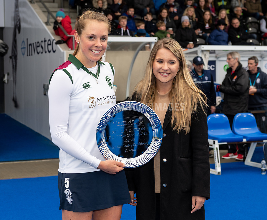 Surbiton v Buckingham - Investec Women's Hockey League Finals, Lee Valley Hockey & Tennis Centre, London, UK on 28 April 2018. Photo: Simon Parker