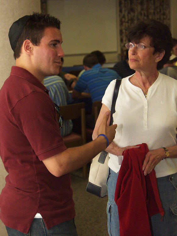 Lynne Goldberg and her son at the Shabbat Service and dinner hosted by the AEPi fraternity Friday evening (6-8).