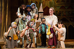 "© Licensed to London News Pictures. 20/03/2014. London, UK. Scene pictured: Eveline and relatives. Wilton's Music Hall presents ""Father Nandru and The Wolves"" by Julian Garner, a Romanian fantasy about a Transylvanian village performed with puppets that tell a gypsy tale about wolves and forests. Father Nandru and The Wolves is Wilton's last full scale production before the final stage of repair works begin to the main building at Wilton's, which is the oldest surviving grand music hall in the world.Photo credit : Vickie Flores/LNP"