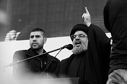 When Nasrallah made a surprise personal appearance, the thousands who had gathered roared in delight.
