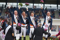 Gold medal, Team Holland, Van SIlfhout Diederik, Van der Meer Patrick, Gal Edward, Minderhoud hans Peter, Ernes Wim, chef d'equipe<br /> European Championships - Aachen 2015<br /> © Hippo Foto - Dirk Caremans<br /> 13/08/15