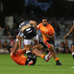DURBAN, SOUTH AFRICA, 5, MARCH, 2016 - Pablo Matera of the Jaguares looks to tackle  Andre Esterhuizen of the Cell C Sharks during The Cell C Sharks vs Jaguares Super Rugby match at Growthpoint Kings Park in Durban, South Africa. (Photo by Anesh Debiky)