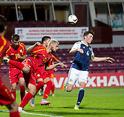 FYR Macedonia's Darko Velkoski heads clear during Scotland Under-21 v FYR Macedonia,  UEFA Under 21 championship qualifier  at Tynecastle, Edinburgh. Photo: David Young<br /> <br />  - © David Young - www.davidyoungphoto.co.uk - email: davidyoungphoto@gmail.com
