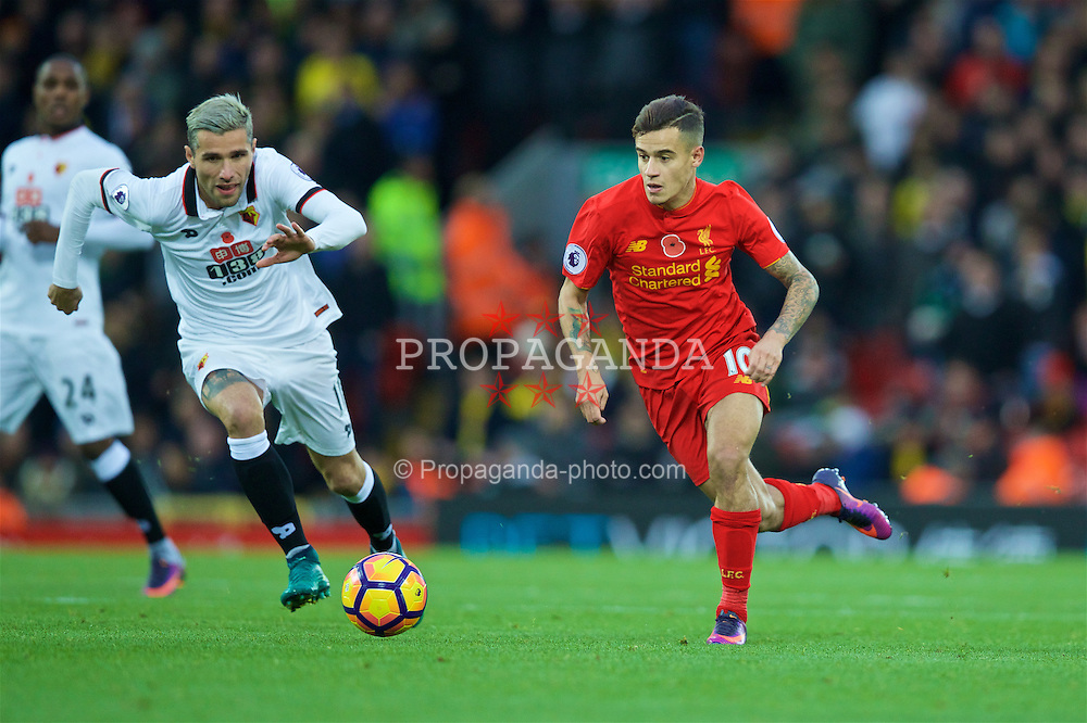 LIVERPOOL, ENGLAND - Sunday, November 6, 2016: Liverpool's Philippe Coutinho Correia in action against Watford during the FA Premier League match at Anfield. (Pic by David Rawcliffe/Propaganda)