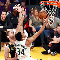 30 March 2018: Milwaukee Bucks forward Giannis Antetokounmpo (34) goes for the layup past Los Angeles Lakers center Brook Lopez (11) during the Milwaukee Bucks 124-122 victory over the LA Lakers, at the Staples Center, Los Angeles, California, USA.