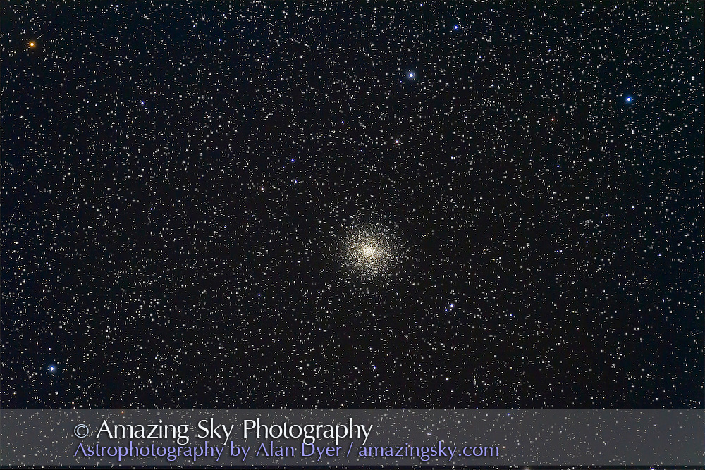Messier 14, a globular cluster in Ophiuchus. This is a stack of 8 x 4 minute exposures at ISO 1600 with the Canon 7D and 130mm Astro-Physics refractor at f/6 with the 6x7 field flattener. Taken at the SSSP 2012 in Cypress Hills.