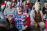 """Johnette Brakel from Metairie, Louisiana at  Republican presidential candidate Donald Trump's campaign rally in New Orleans. <br /> The New Orleans rally on Friday, March 4, 2016 at Lakefront Airport took place a day before the primary vote. She supports Trum beucase """" He tells it like it is."""""""