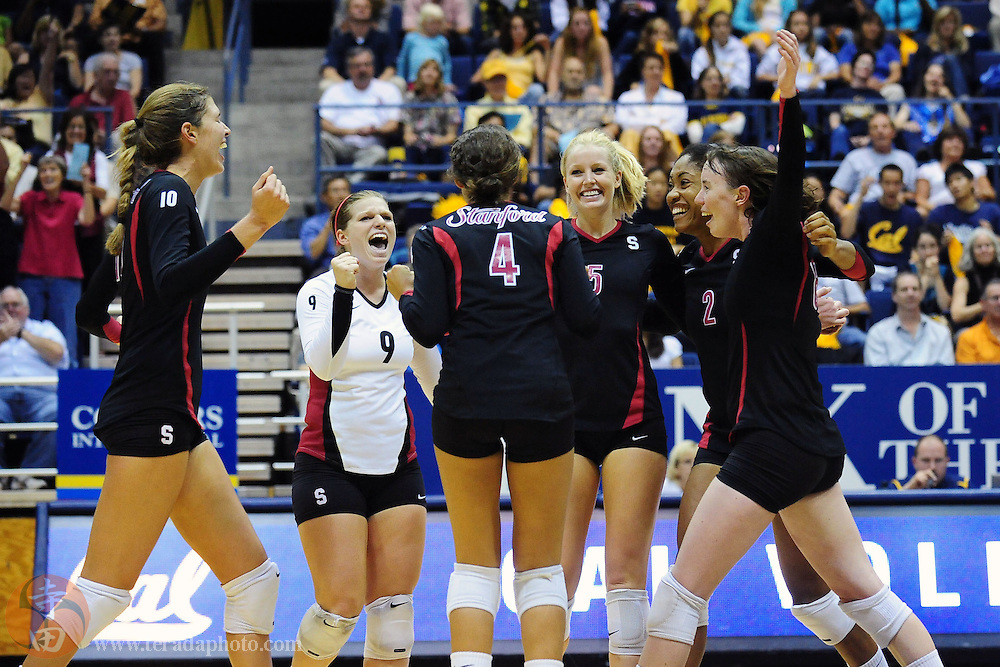 September 25, 2009; Berkeley, CA, USA; Stanford Cardinal outside hitter Alix Klineman (10), libero Gabi Ailes (9), defensive specialist Hannah Benjamin (4), outside hitter Alex Fisher (5), middle blocker Janet Okogbaa (2), and outside hitter Cassidy Lichtman (8) celebrate a point during the match against the California Golden Bears at Haas Pavilion. The Golden Bears defeated the Cardinal 19-25, 25-20, 20-25, 25-19, 15-12. Mandatory Credit: Kyle Terada-Terada Photo