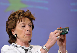 Neelie Kroes, the EU's competition commissioner, speaks during a news conference, in Brussels, Belgium, on Wednesday, May 13, 2009. Intel Corp., the world's biggest computer-chip maker, was fined a record 1.06 billion euros ($1.45 billion) by the European Union for using rebates to thwart competitors. .(Photo © Jock Fistick)