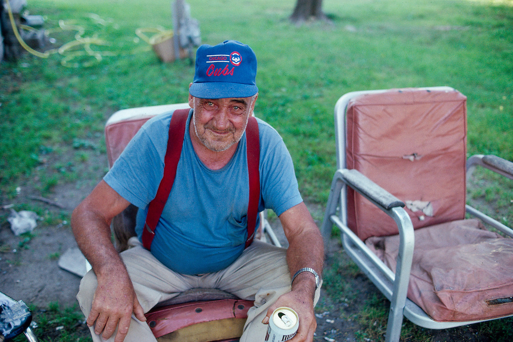 Intoxicated man in a backyard in Beardstown, Illinois