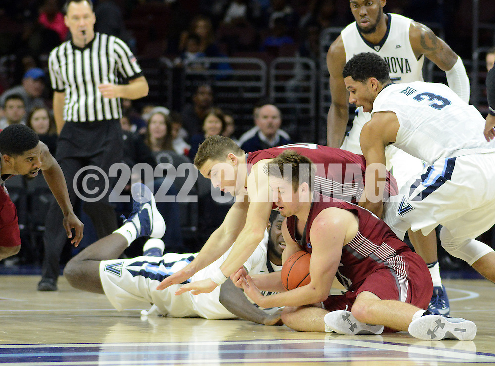 IUP's Blake Danielak (11) and Villanova's Josh Hart (3) in the first half Saturday, November 5, 2016 at the Wells Fargo Center in Philadelphia, Pennsylvania. (WILLIAM THOMAS CAIN / For The Philadelphia Inquirer)